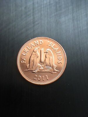 Falkland Islands 2011 One Penny Pence Coin 20.3 Mm Diameter Penguins
