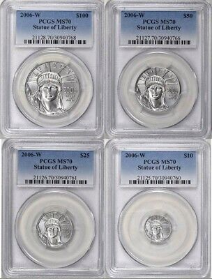 2006-W Burnished Platinum Eagles Statue of Liberty PCGS MS70 4 coins set