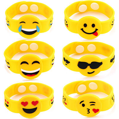 12PC Rubber Emoji Emotion Bracelet Mixed Cute Smily Faces Bangle For Children