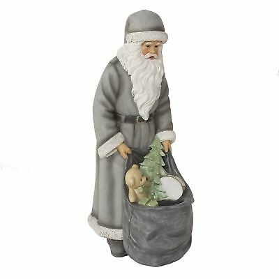 Tall Santa Dressed in Grey with Toy Sack Candle Holder Christmas Decoration