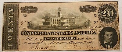 1864 $20.00 Confederate Civil War Note Richmond Twenty Dollar Bill NICE