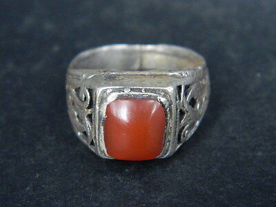 Antique Silver Ring With Stone C.1900 AD  ###R626###