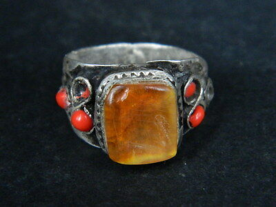 Antique Silver Ring With Stones C.1900 AD  ###R601###