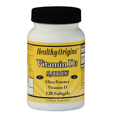 Healthy Origins, vitamina D3, 5.000 IU, 120 Softgels
