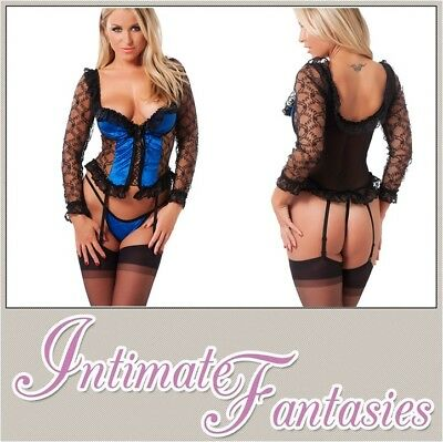 Sexy Black Blue Basque Thong & Stockings Burlesque Lingerie Size 8 10 12 14 16