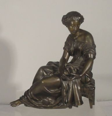 Antique 19th Century French Seated Bronze Figure of a Lady Clock Statue