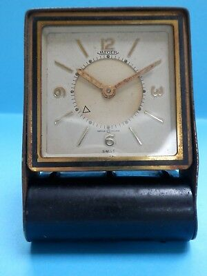 "A nice vintage French ""Jaeger LeCoultre""  8 day alarm clock in folding case."