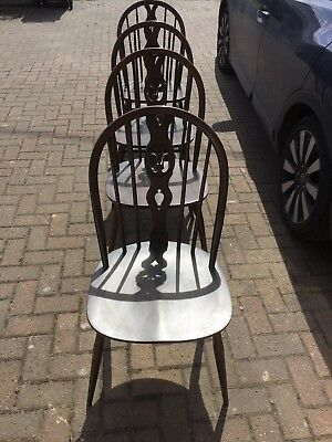 Set Of 4 Ercol Chairs, Antique, Vintage, Fleur De Lys, Kitchen, Dining, Retro