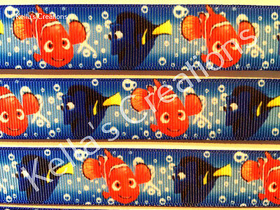 """Finding Nemo-Dory 7/8"""" Ribbon Sold by 2 M - Craft - Hair - Dummy clips etc"""