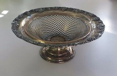 Antique Sheffield Silver Plate Pierced Pedestal Dish Hallmarked London 1846-1875