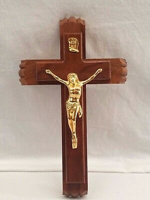Vintage Unused Catholic Last Rites Divinity Sick Call  Wall Crucifix w/ Contents