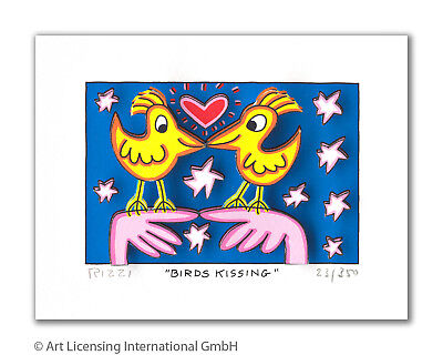 "Original James Rizzi 3 D Bild ""Birds kissing"" NEU mit Zertifikat"
