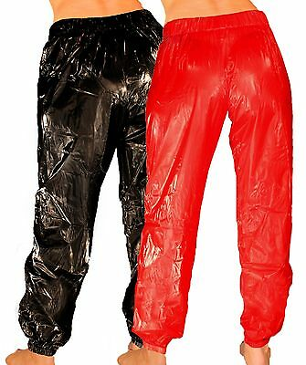 PVJC Sweatpants Tracksuit Bottoms Sauna Trousers Glossy Look Diaper Pants Smooth
