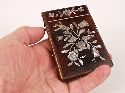 A 19th Century Inlaid Faux Tortoiseshell Calling Card Case.