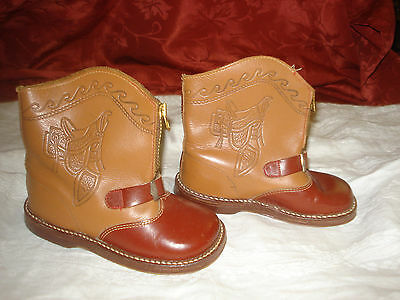 """Unisex Toddler Vtg GALLENKAMP Tooled Leather Zip Cowboy Cowgirl Boots 6"""" Long"""
