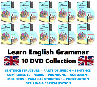 Learn English Grammar - 10 DVD Set + Worksheets ( Language in use how to speak )