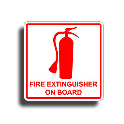 Fire Extinguisher On Board Safety Stickers Decal Emergency Boat Truck RV WHITE