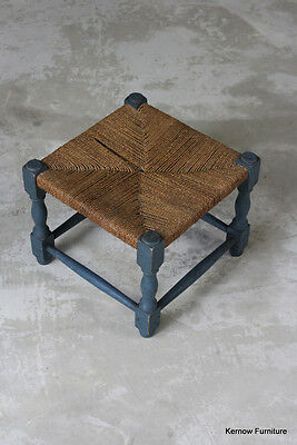 Vintage Small Square Woven Seagrass Blue Footstool