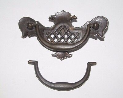 Antique Ornate Reticulated Brass Drawer Pull Handle Dresser Victorian Eastlake