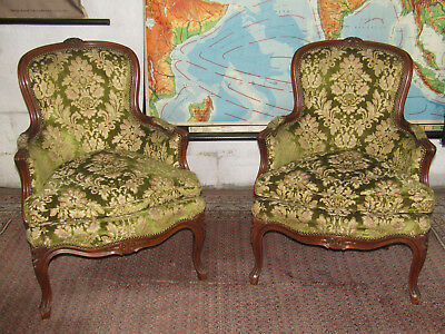 Gorgeous pair of carved Louis XV French upholstered armchairs,boudoir, parlour