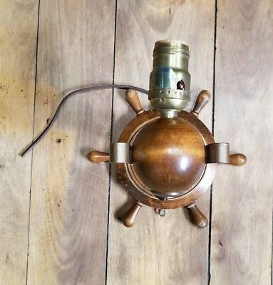 Retro Wooden Nautical Ship Wheel Wall Light Sconce
