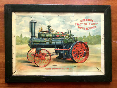 Tin Lithograph: J.I. Case Steam Traction Engine Tractor Gas Threshing Machine
