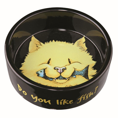 Ecuelle céramique Do you like Fish, 0,3 l/ø 12 cm, noir pour chat