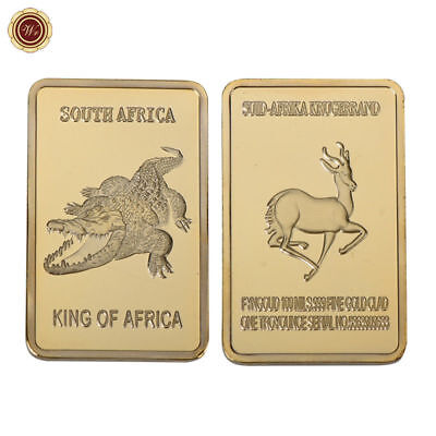 WR 24K South Africa Crocodile Gold Bullion Bar Africa Wildlife Collectible Gifts