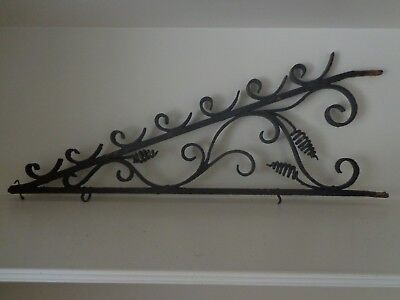 19Th Century French Wrought Iron Hand Forged Sign Bracket Or Holder