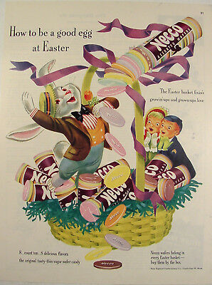 1952 NECCO Wafer Candy Easter Bunny Basket Children colorful Print Ad