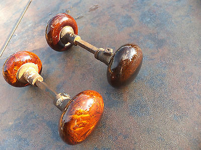 Two Pair of Vintage Antique  Brown & Brown Swirl Glass Door Knob Knobs & Shafts