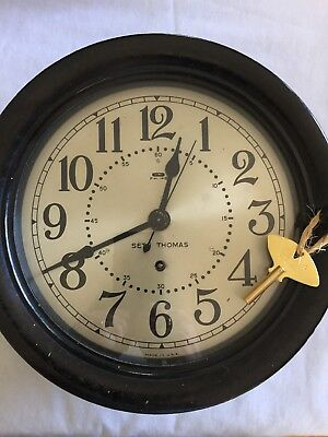 "Sept 1944 Seth Thomas 8"" Silver Dialed Ships Clock - Excellent Condition"