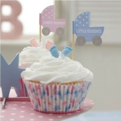(2, A) - 2x 20 x Cupcake / Canape Baby Shower Flags 'Tiny Feet' Range
