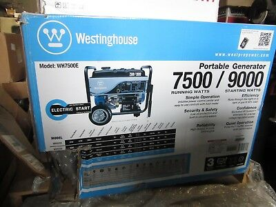Westinghouse WH7500E Portable Gasoline Generator, 7500W Running, 9000W Starting