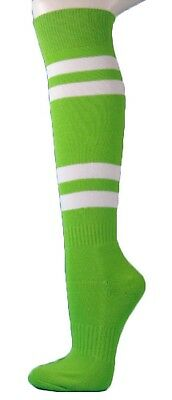 (Medium, Bright Lime Green) - Couver White Striped Knee High Softball/Sports