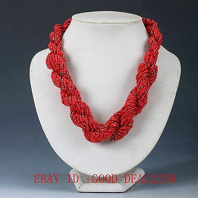 100% Natural Red Coral Handwork Carved Decorated Necklaces XL001