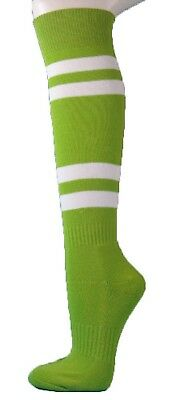 (Large, lime green) - Couver White Striped Knee High Softball/Sports Socks