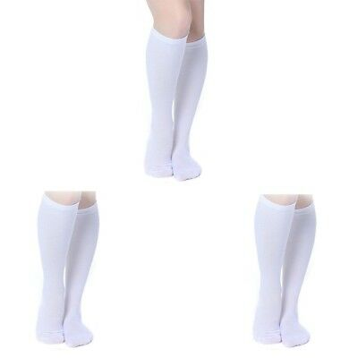 (White, S/M) - 3 Pairs Knee High Graduated Compression Socks For Women and Men