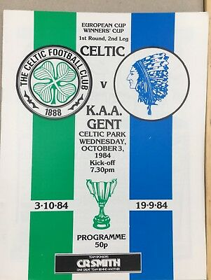 Celtic V K.A.A.Gent European Cup Winners Cup 1st Round 2nd Leg 3rd October 1984