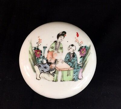 Antique Chinese Porcelain Lady's Makeup Round Box Famille Rose, Republic Period