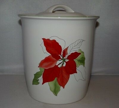 Block Bernarda POINSETTIA COOKIE JAR CANISTER Portugal Christmas Holiday 1982
