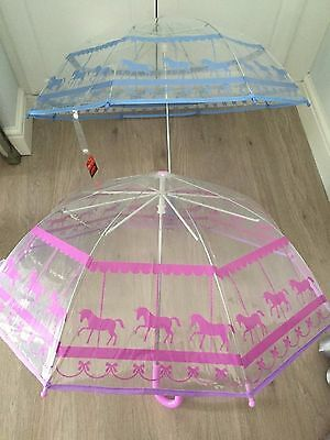 Children's Unicorns & Bow Print Umbrella Pink Or Lilac Crook Handle Very Pretty