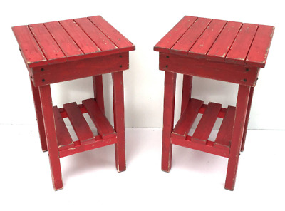 Old Wooden Pine Rustic Vintage Modern Farmhouse Custom Handmade End Table Set