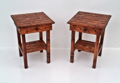 Old Wooden Pine Rustic Vintage Modern Farmhouse Custom Handmade Night Stand Set