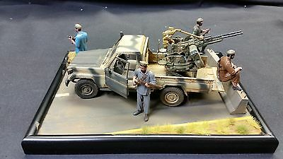 """BUILT 1/35 MENG PICKUP with ZPU-2 """"SOMEWHERE IN AFGHANISTAN"""" DIORAMA"""
