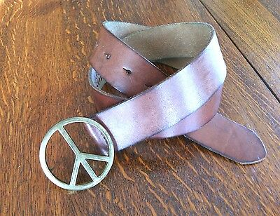 Peace Sign Buckle Genuine Leather Belt Size M Brown Brass Plate Hipster Casual