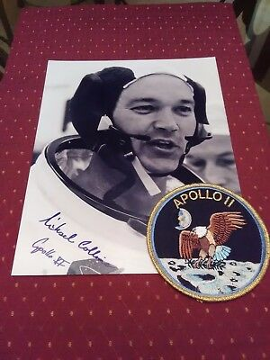 Michael Collins signed Autograph Apollo 11 8x10 high quality print and patch