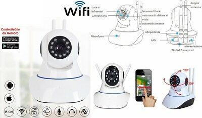 IP Camera telecamera WIFI x iPhone,iPad,Galaxy,Android.Videocamera micro SD slot