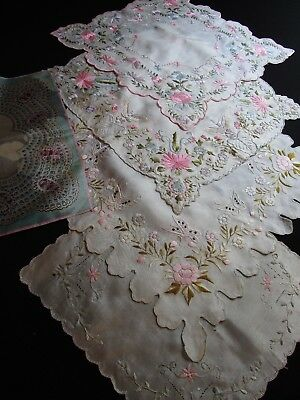 Lot Of 5 Antique Silk Hankies, Embroidered Floral & Butterflies, Printed