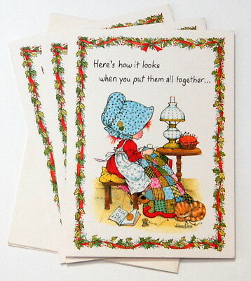 Vintage Rust Craft/3 ANNELIESE Christmas Cards/Bonnet girl patchwork quilt kitty